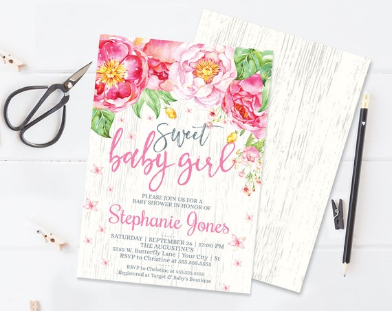 Sweet Baby Girl Flower Baby Shower Invitation - Flower Shower, Spring, Garden Party | Self-Editing with CORJL - INSTANT DOWNLOAD Printable