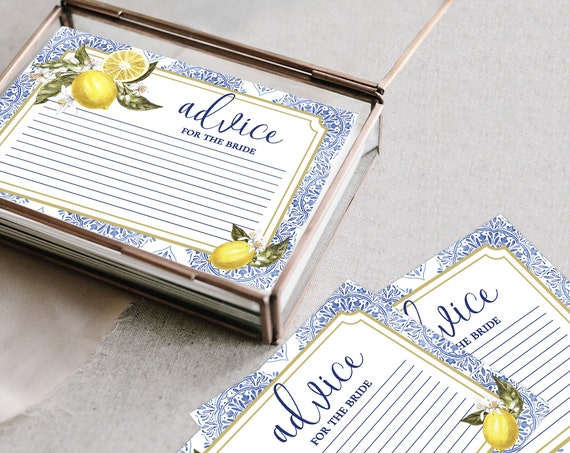 "Tuscan Lemon Advice Card - Bridal Shower- 6""x4"" Card, Lemon, Summer 