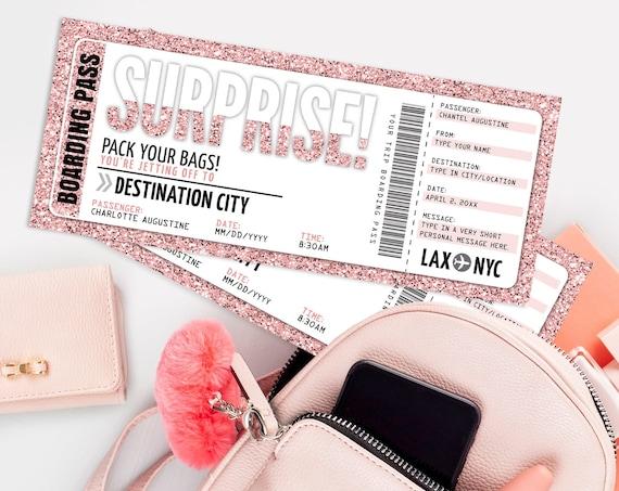 Surprise Boarding Pass Gift Voucher - Plane Ticket, Printable Certificate, Surprise Flight   Edit with CORJL - INSTANT DOWNLOAD Printable