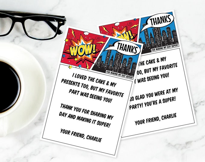 Superhero Thank You Card - Superhero Birthday Party, Comic Book Thank You Note | Self-Editing with CORJL - INSTANT Download Printable