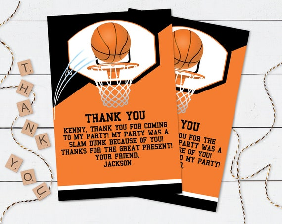 Basketball Thank You Note - Basketball Party, Basketball Birthday,Thank You Card | Self-Edit with CORJL - INSTANT Download Printable