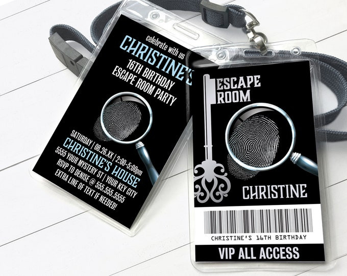 Escape Room VIP Badge Invitation, Escape Room Party,Mystery Party Invite   Self-Editing with CORJL - INSTANT Download Printable Template