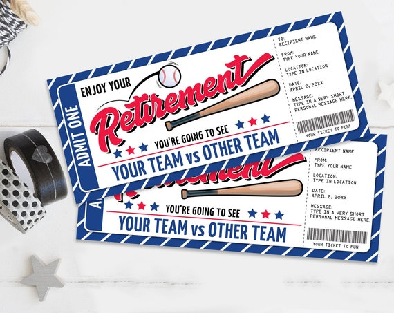 Retirement Baseball Ticket Gift Editable Template - Surprise Baseball Ticket | Self-Edit with CORJL - INSTANT DOWNLOAD Printable