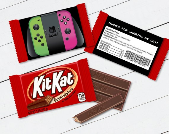 Kit Kat Candy Bar Label/Wrapper - Game Controller, Video Game Party Favor | Self-Edit with CORJL - INSTANT Download Printable