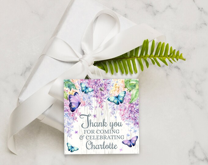 """Butterfly Favor Tag - 2.5""""x2.5"""" Lilac Thank You, Shower Tag, Bridal, Baby, Thank You Tag 