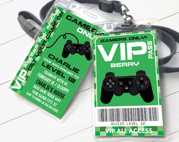 Video Gamer VIP I.D. Badge Invitation- 2-Sided Badge, Party Favor, Game Truck   Self-Edit with CORJL - INSTANT Download Printable Template