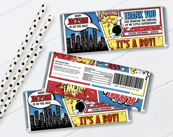 Baby Shower Superhero Candy Bar Wrappers - Superhero Favor, Chocolate Labels/Wraps | Self-Editing with CORJL - INSTANT DOWNLOAD Printable