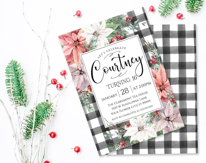 Poinsettia & Plaid Birthday Party Invitation, Watercolor, Wedding Shower | Self-Edit with CORJL - INSTANT DOWNLOAD Printable
