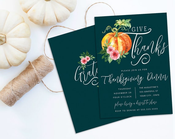 Give Thanks Thanksgiving Dinner Invitation, Pumpkin Invite, Dinner Invite |  Self-Editing with CORJL - INSTANT DOWNLOAD Printable