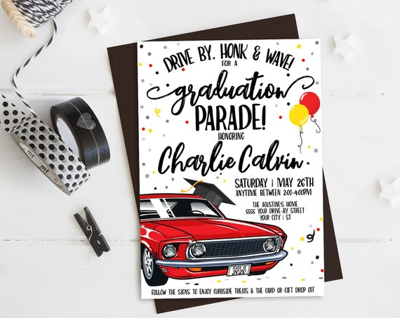 Drive By Graduation Invitation-Drive By Parade,Quarantine,Social Distancing   Self-Edit with CORJL - INSTANT DOWNLOAD Printable Template