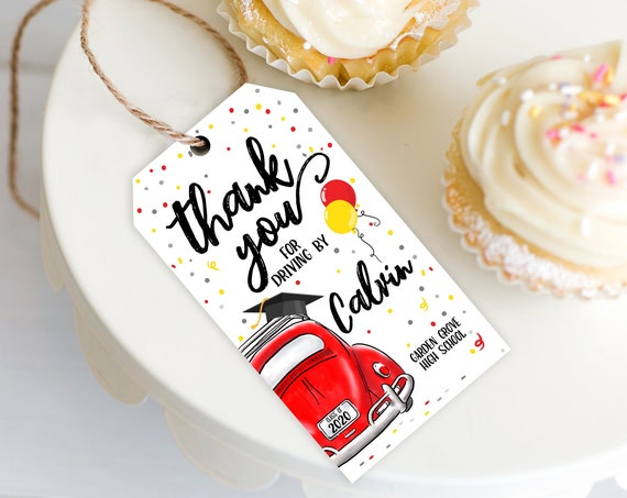 Drive By Graduation Favor Tag - Drive By Tag, Quarantine, Social Distancing   Self-Edit with CORJL - INSTANT DOWNLOAD Printable Template