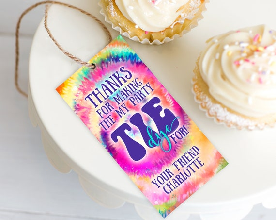 Tie Dye Party Favor Tag - Hippie Birthday Party, Tie Dye Gift Tag | Self-Edit with CORJL - INSTANT DOWNLOAD Printable Template