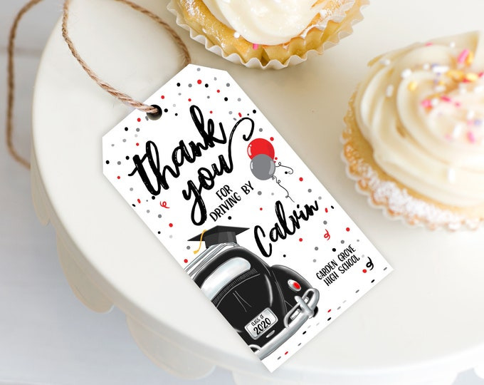 Drive By Graduation Favor Tag - Drive By Tag, Quarantine, Social Distancing | Self-Edit with CORJL - INSTANT DOWNLOAD Printable Template