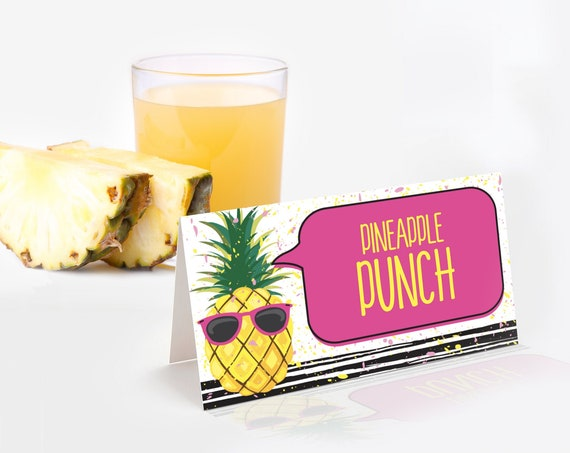 Pineapple Food Label - Party Like a Pineapple, Hawaiian,Luau,Birthday,Pineapple Party | Self-Editing with CORJL - INSTANT DOWNLOAD Printable