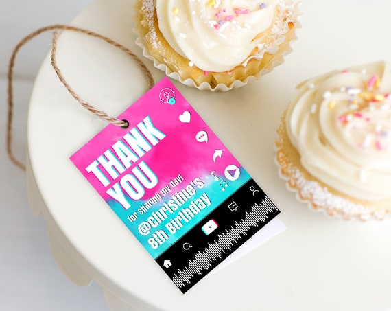 Social Media Party Favor Tag - Thank You Tag, Gift Tag, Video Party,Dance Party | Self-Edit with CORJL - INSTANT DOWNLOAD Printable Template