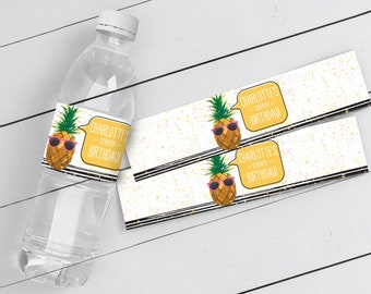 Pineapple Water Bottle Label/Wrap - Party Like a Pineapple, Hawaiian, Luau, Birthday   Self-Editable Text DIY INSTANT DOWNLOAD Printable