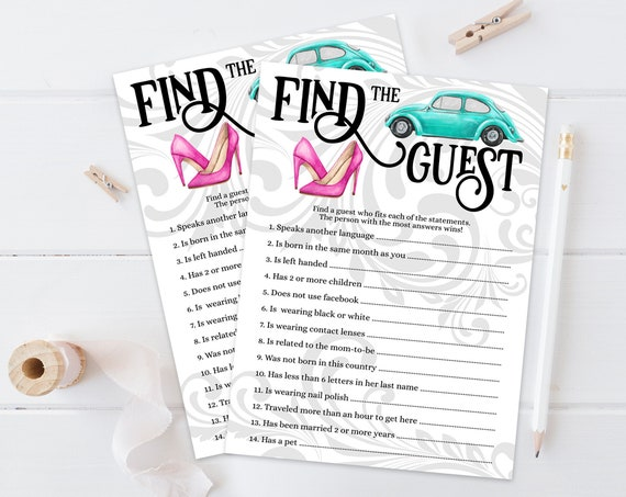 Find the Guest Game -Wheels or Heels Gender Reveal Baby Shower Game | Self-Edit with CORJL - INSTANT DOWNLOAD Printable