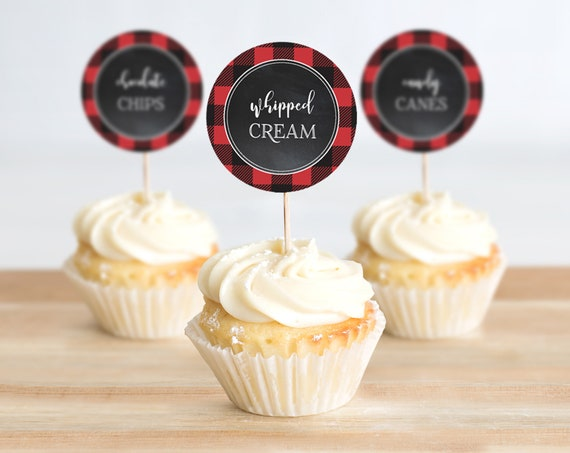 Cupcake Toppers - Flannel & Frost, 2-inch Cupcake Toppers, Buffalo Plaid | Self-Editing with CORJL - INSTANT DOWNLOAD Printable