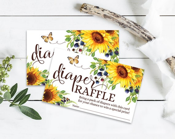 Diaper Raffle Sunflower Baby Shower Insert, Garden Shower, Sunflower & Blueberries | Self-Editing with CORJL - INSTANT DOWNLOAD Printable