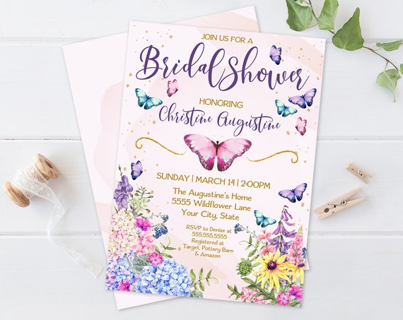 Butterfly Flowers Bridal Shower Invitation - Butterfly Shower,Spring,Garden Party | Self-Edit with CORJL–INSTANT DOWNLOAD Printable Template