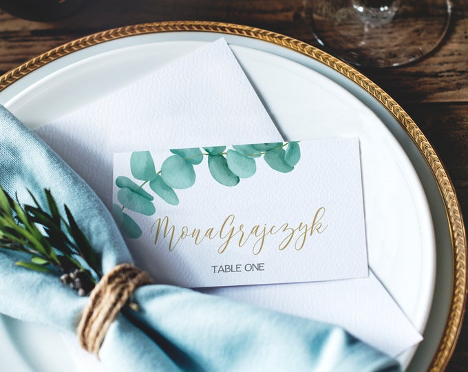 Eucalyptus Place Cards - Greenery Wedding, Bridal Shower, Baby Shower | Self-Edit Text with CORJL - INSTANT Download Printable