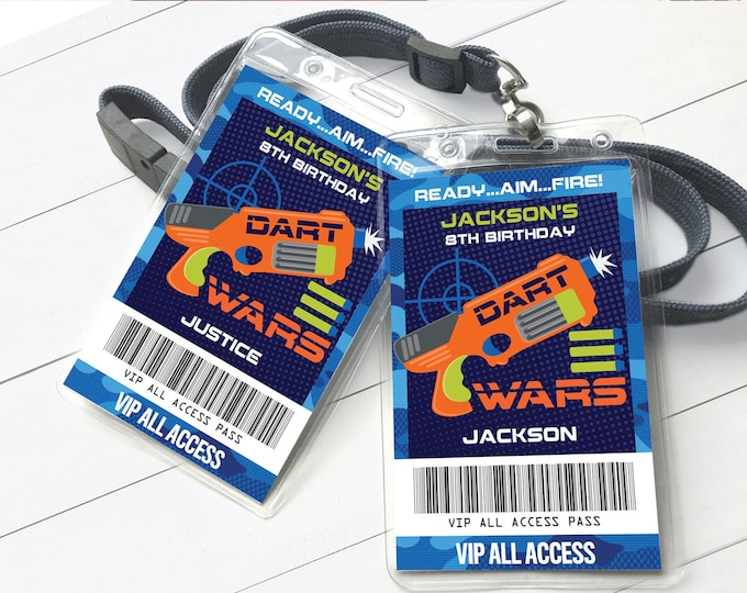 Dart Wars VIP Badge, Dart Wars Party, Dart Wars Party All Access Pass | Self-Edit with CORJL - INSTANT Download Printable Template