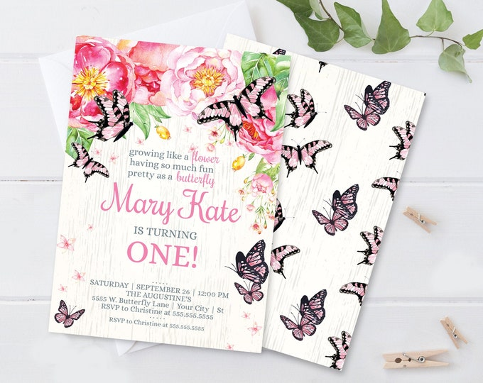 Butterfly Party Invitation - Growing Like A Flower, Spring, Garden Party | Self-Editing with CORJL - INSTANT DOWNLOAD Printable