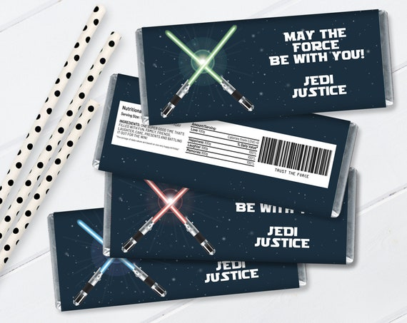 Star Wars Candy Bar Wrappers - 3 color versions, Star Wars Birthday, Star Wars Favor  | Self-Editing with CORJL - INSTANT Download Printable