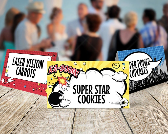 Superhero Food Labels - Superhero Party, Table Tent,Place Card,Buffet Tags,Super Hero | Self-Editing with CORJL - INSTANT DOWNLOAD Printable