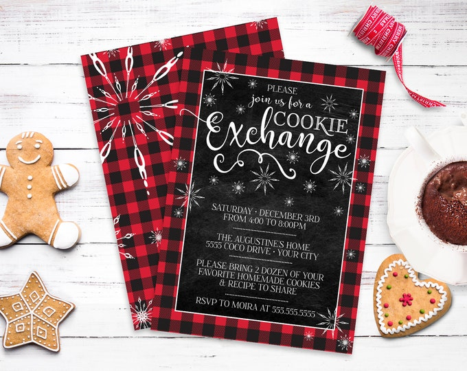 Cookie Exchange Party Invitation - Cookie Party, Holiday Cookie Party, Cookie Swap   Self-Edit with CORJL - INSTANT DOWNLOAD Printable
