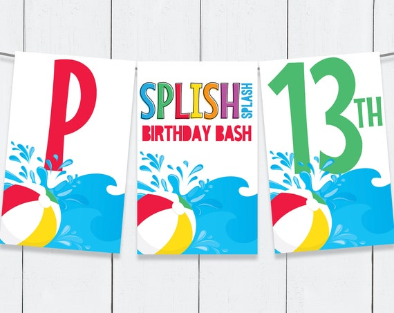 Pool Party Banner - Pool Banner, Summer Party, Beach Party   Self-Edit with CORJL - INSTANT DOWNLOAD Printable