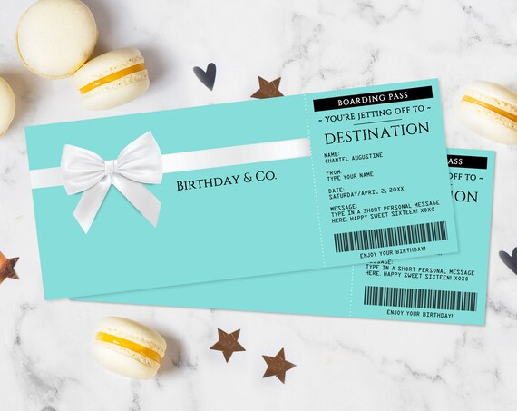 Turquoise Boarding Pass Gift Voucher - Plane Ticket, Printable Certificate, Surprise Flight | Edit with CORJL - INSTANT DOWNLOAD Printable