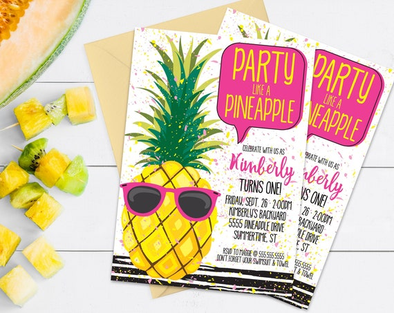 Pineapple Party Invitation - Pineapple Birthday, Party Like a Pineapple,Hawaiian,Luau | Self-Editing with CORJL - INSTANT DOWNLOAD Printable