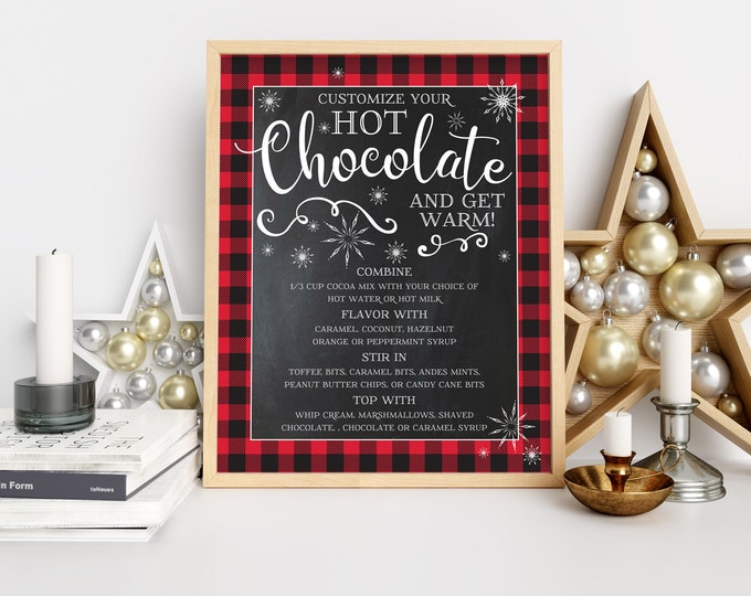Hot Chocolate Party Sign/Menu - Hot Coco Bar, Hot Chocolate Party, Winter, Holiday Party | Self-Edit with CORJL - INSTANT DOWNLOAD Printable