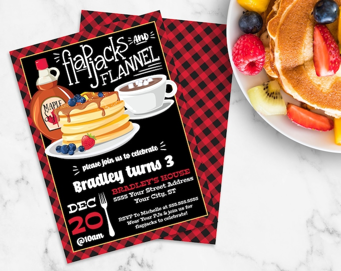 Flapjack & Flannel Invitation - Lumberjack Party, Lumberjack Flapjack Party, Pancake | Self-Edit with CORJL - INSTANT DOWNLOAD Printable