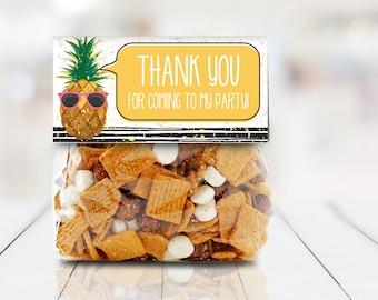 "Pineapple 4"" Treat Bag Topper - Party Like a Pineapple, Hawaiian, Luau, Birthday   Self-Editable Text DIY INSTANT DOWNLOAD Printable"