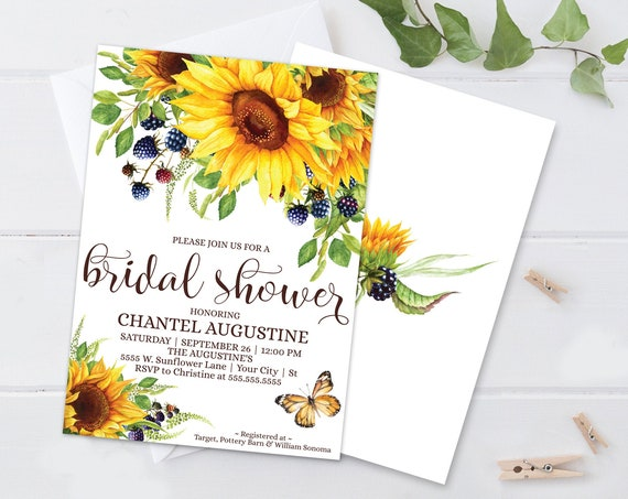 Sunflowers Bridal Shower Invitation, Boho, Watercolor, Greenery,Wedding Shower |  Self-Edit with CORJL - INSTANT DOWNLOAD Printable Template