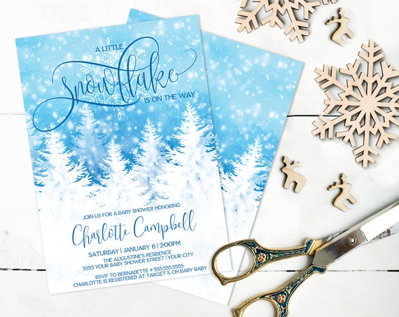 A Little Snowflake Is On The Way Baby Shower Invitation, Christmas Winter Shower |  Self-Editing with CORJL - INSTANT DOWNLOAD Printable