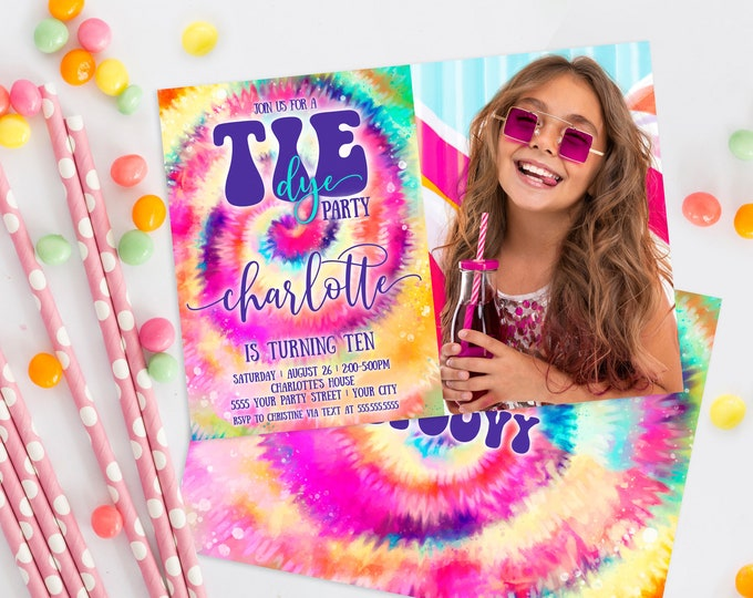 Tie Dye Party Photo Invitation - Hippie Birthday, Peace Love, Teen Party, Tween Party | Self-Edit with CORJL - INSTANT DOWNLOAD Printable