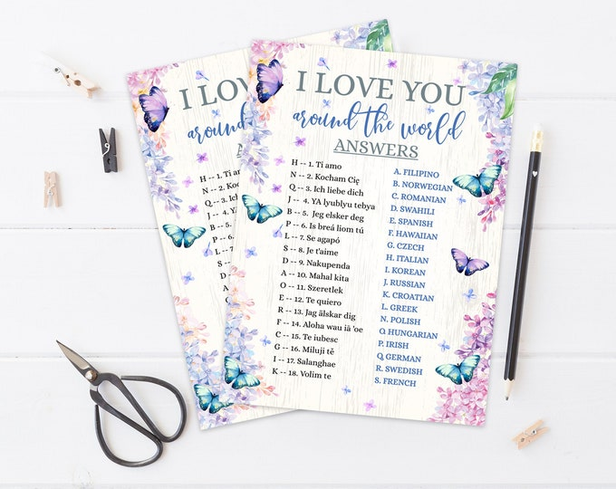 I Love You Around the World Bridal Shower Game, International Match, Butterfly & Flowers   Self-Edit with CORJL - INSTANT Instant Printable