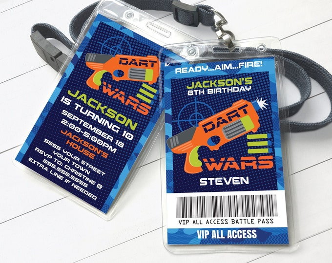 Dart Wars Invitation I.D. Badge - Dart Wars VIP Badge,Target Party,Birthday Party | Self-Edit with CORJL INSTANT Download Printable Template