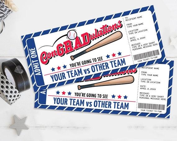 ConGRADulations Baseball Ticket Gift Editable Template - Graduation Surprise Ticket | Self-Edit with CORJL - INSTANT DOWNLOAD Printable