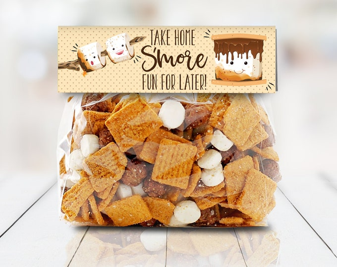 "S'more Party Favor Bag Topper - S'more 6.75"" Treat Topper, S'more Treats 