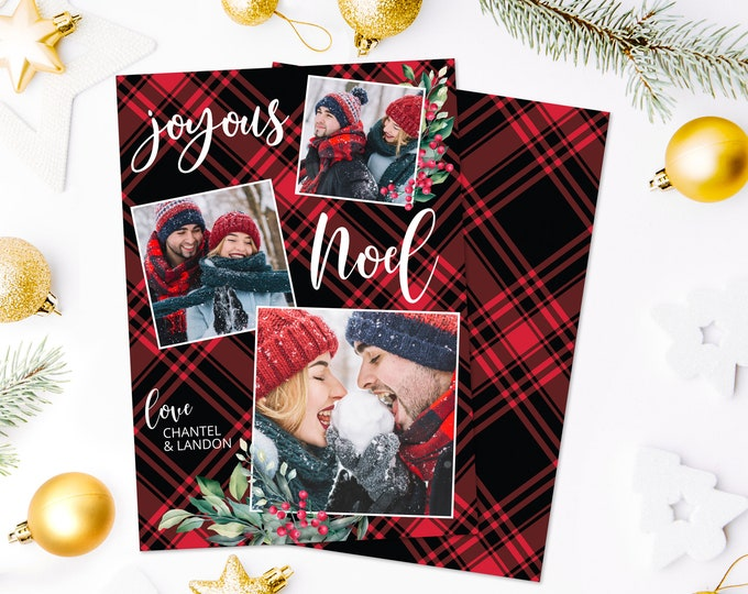 Christmas Photo Card - Joyous Noel Christmas Plaid Card, 3-Photo Greeting Card | Self-Edit with CORJL - INSTANT Download Printable