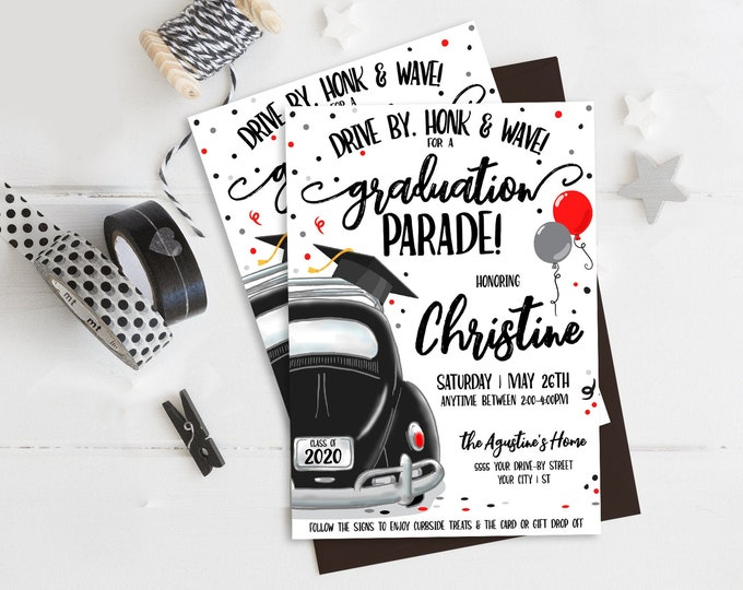 Drive By Graduation Invitation-Drive By Parade,Quarantine,Social Distancing | Self-Edit with CORJL - INSTANT DOWNLOAD Printable Template