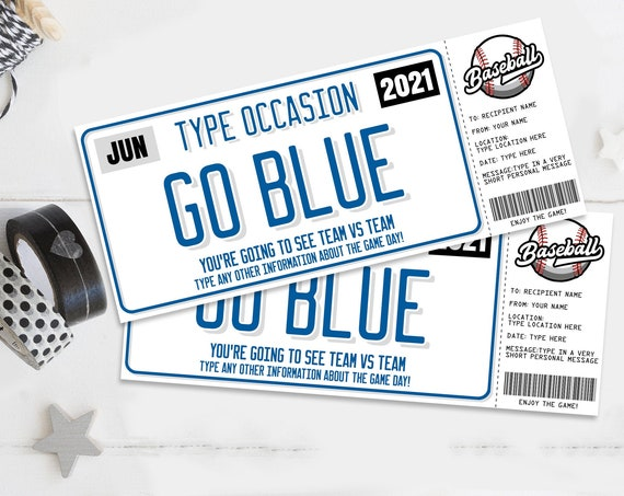 Baseball Ticket Gift Editable Template - Surprise Baseball Game Ticket, Any Occasion | Self-Edit with CORJL - INSTANT DOWNLOAD Printable