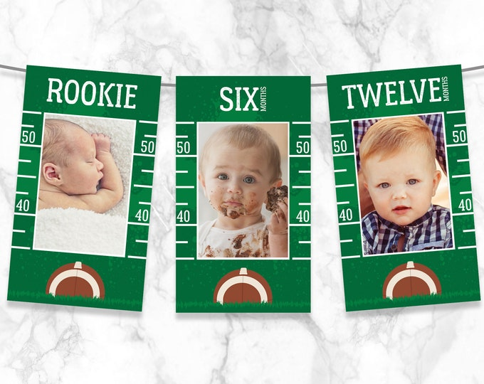 Football First Year Photo Banner - 12 Month Banner, Football 1st Birthday,Football Party | Self-Edit with CORJL - INSTANT DOWNLOAD Printable