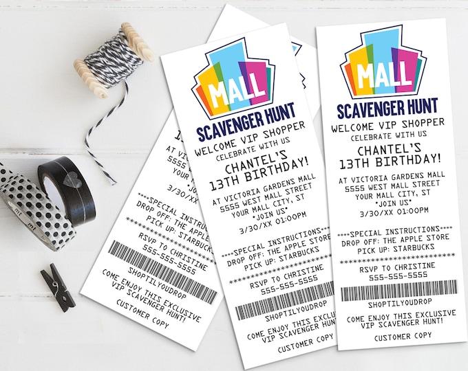 Mall Scavenger Receipt Invitation, Birthday Party Receipt Invite, Ticket Invite   Self-Edit with CORJL - INSTANT DOWNLOAD Printable Template