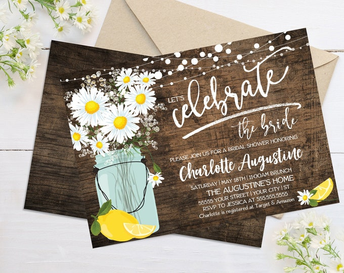Daisy & Lemon Bridal Shower Invitation - Rustic Daisy, Mason Jar Invite, Lemonade Party | Self-Edit with CORJL - INSTANT DOWNLOAD Printable