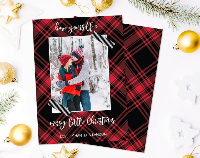 Christmas Photo Card - Have Yourself a Merry Christmas Plaid Card, Photo Greeting Card | Self-Edit with CORJL - INSTANT Download Printable